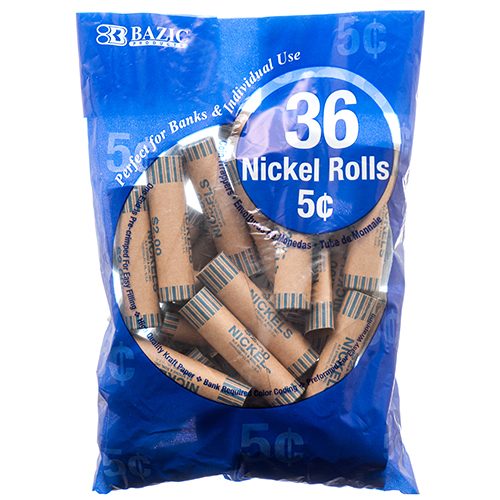 BAZIC Nickel 5c Coin Wrappers36 rolls Per Pack #5012 3 Pack